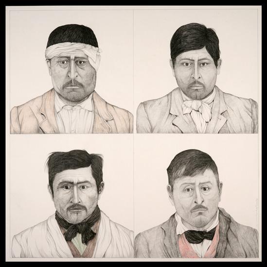 Luis F. Benedit. Agrupación Baigorrita D, c. 2008. Carbón, sanguínea y grafito sobre tela. 180 x 180 cm.