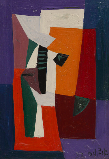 Juan Del Prete. Pequeña composición, 1937. Oil on canvas. 26 x 17,5 cm.