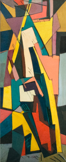 Juan Del Prete. Abstracción formas planas II, 1954. Oil on paper mounted on canvas. 205 x 77,5 cm.