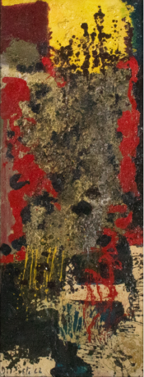 Juan Del Prete. Abstracción informal, 1962. Oil on cardboard. 130 x 49 cm.