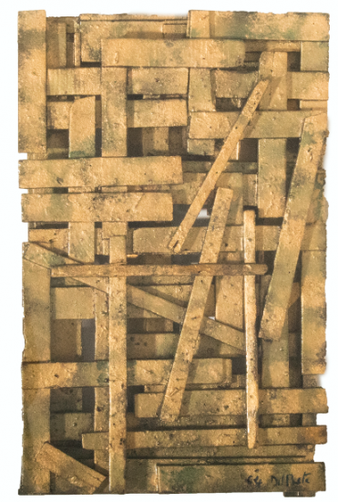Juan Del Prete. Relieve con legno, 1964. Assembled woods and pigments. 44,5 x 27 x 8 cm.