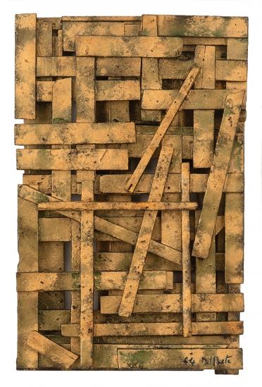 Juan Del Prete. Relieve con legno, 1964. Maderas ensambladas y pigmentos. 44,5 x 27 x 8 cm.