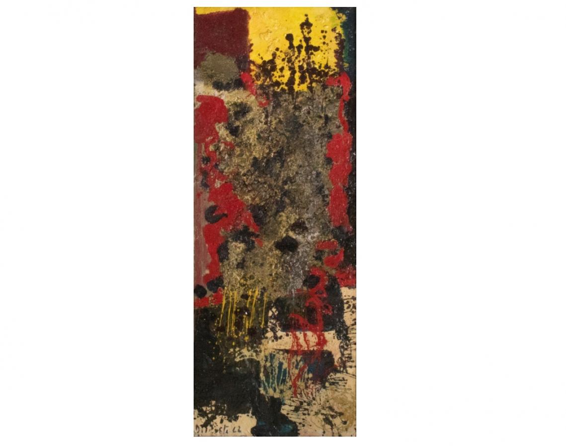 Juan Del Prete.  Abstracción informal, 1962. Óleo sobre cartón. 130 x 49 cm.
