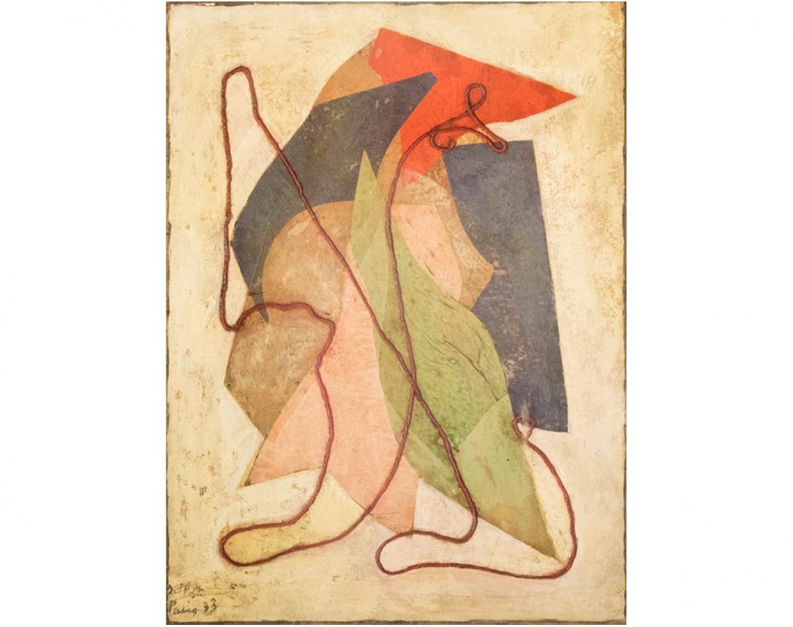 Juan Del Prete. Collage con piolín, 1933. Óleo, papeles y piolín sobre cartón.  52,5 x 40 cm.