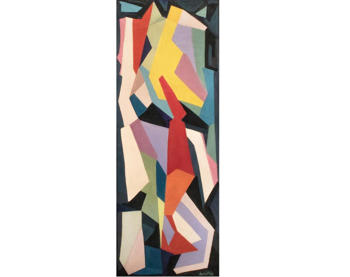 Juan Del Prete. Abstracción formas planas III, 1954. Óleo sobre papel montado sobre tela. 205 x 77, 5 cm.