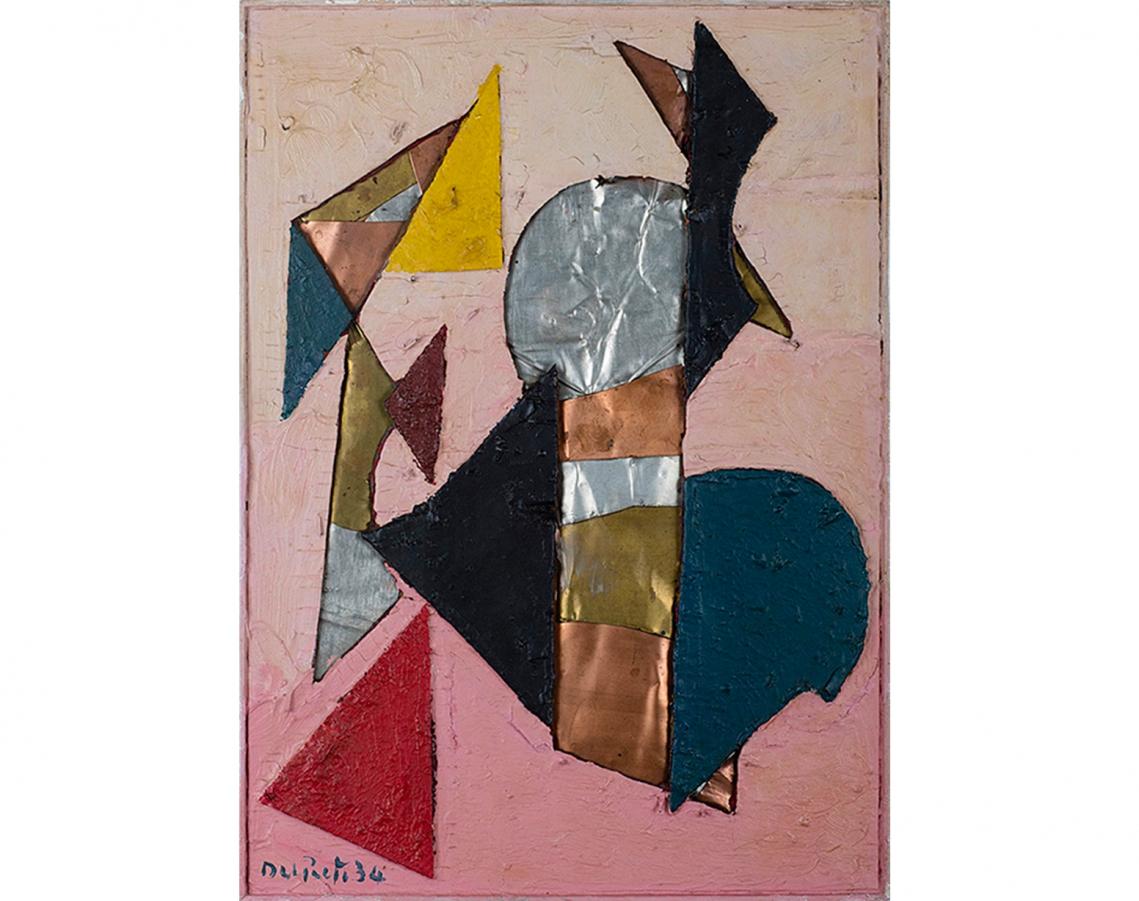 Juan Del Prete. Composición con materiales, 1934. Óleo sobre cartón calado, hojalatas de bronce, cobre y zinc y cartón recortado y pintado. 48 x 35 cm.