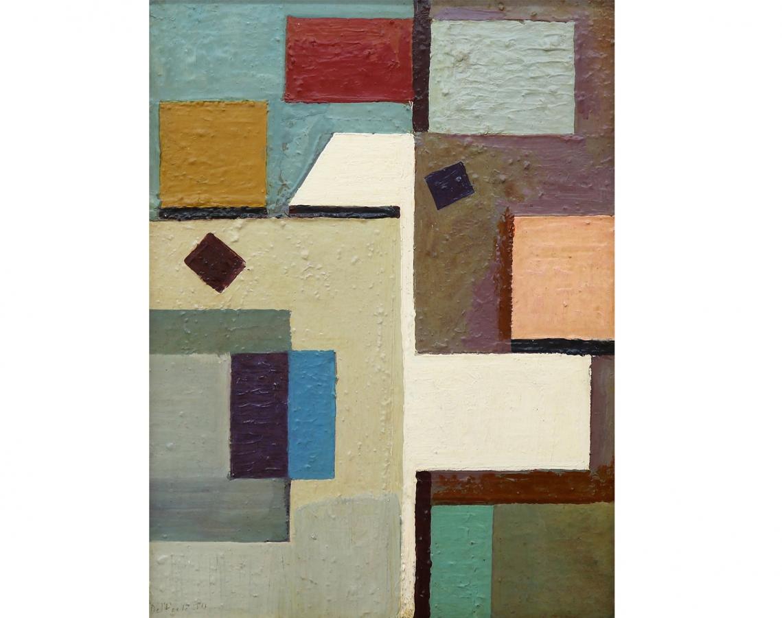 Juan Del Prete. Sin título, 1950. Óleo sobre hardboard. 54 x 41 cm.
