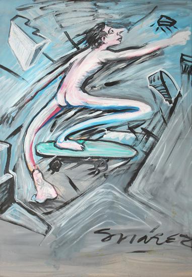 Pablo Suárez. El alegre espíritu de la hiper modernidad, 1986. Acrílico sobre papel. 100 x 70 cm.
