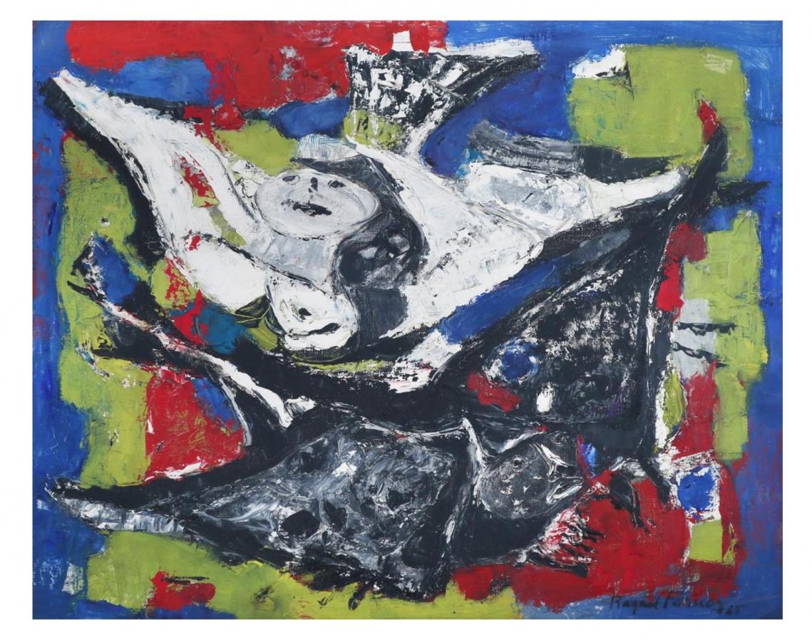 Raquel Forner. Astropajaros, 1965. Óleo sobre tela. 65 x 80 cm.