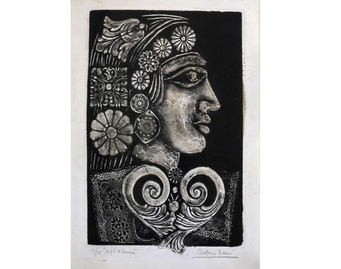 Antonio Berni. Perfil de Ramona, c. 1965. Gofrado. 38,5 x 29 cm.