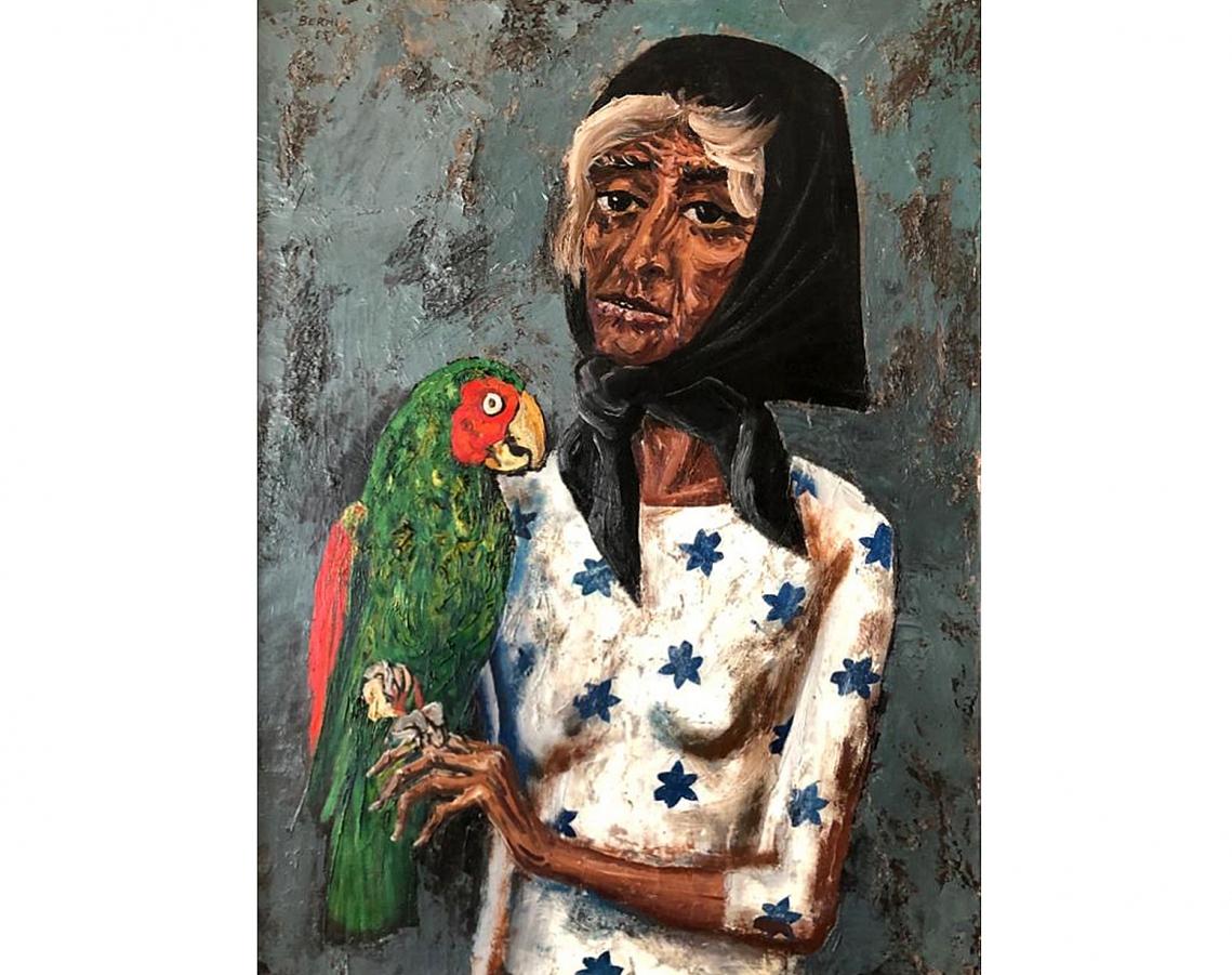 Antonio Berni. Mujer con loro, 1955. Óleo sobre tela. 100 x 70 cm.