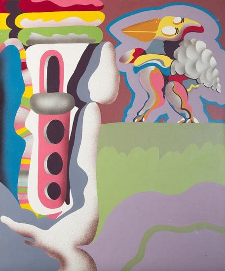 Luis F. Benedit. Arquitectura 6775, 1967. Esmalte sobre tela. 65 x 54 cm.
