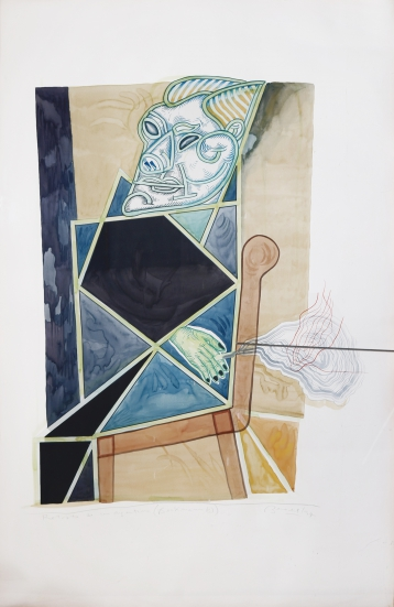 Luis F. Benedit. Retrato de un argentino (Beckmann C), 1997. Acuarela sobre papel con luz. 150 x 100 cm.