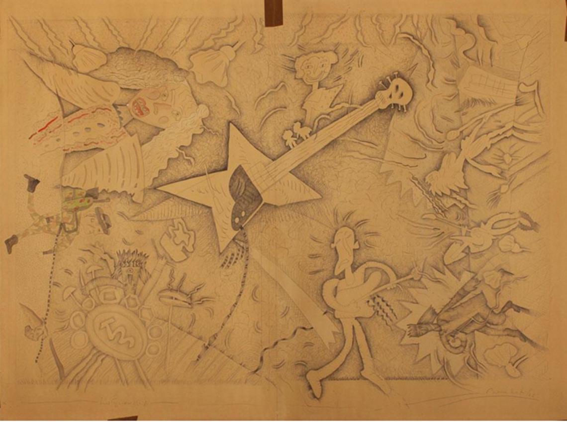 Luis F. Benedit. Los Gurkas R.A., 1986. Acuarela y lápiz sobre papel. 117 x 157 cm.