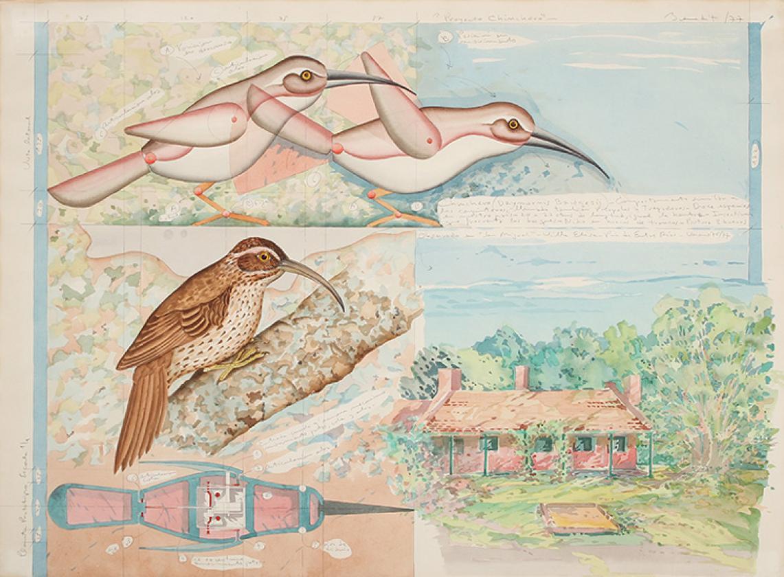 Luis F. Benedit. Proyecto chincheros, 1977.  Acuarela sobre papel. 57 x 77 cm.