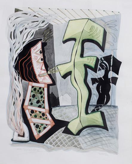 Luis F. Benedit. Calentando la cocina con Pettoruti, 1991. Acuarela sobre papel.105 x 84 cm.